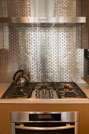 Metallic Tile Backsplash by Stainless Steel Tile Backsplash Kitchen Contemporary With 2 Tone