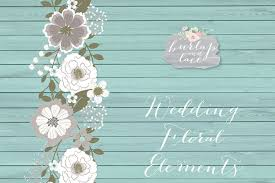 vector rustic wedding clipart teal brown shabby chic clipart