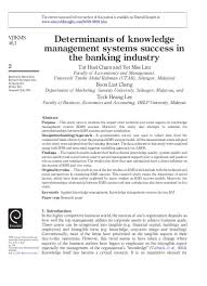determinants of knowledge management systems success in the banking i u2026