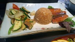 the dinner order for salmon fried rice and stir fried squash