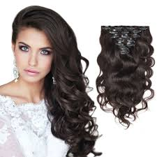 hair clip ins darkest brown wavy clip in hair extensions