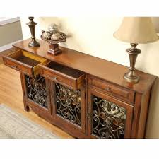 powell scroll console table powell company occasional tables 246 335 walnut 3 door scroll