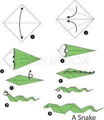 Origami Snake - step by step how to make origami snake stock