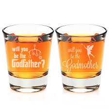 Godmother Wine Glass Will You Be My Godfather And Godmother Engraved Fluted Shot Glass