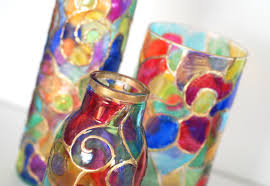How To Paint Inside Glass Vases Creating Stained Glass Jars With Copics Youtube