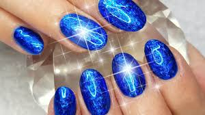 acrylic nails with holo blue foil overlay nail design youtube