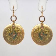 gold disc earrings gold disc dangle earrings kloiber jewelers