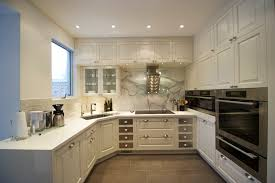 kitchen u shaped designs with breakfast bar for small and white