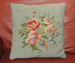 vintage floral wool needlepoint pillow blue green poppies