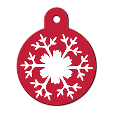 quick tag large snowflake circle personalized engraved pet id tag