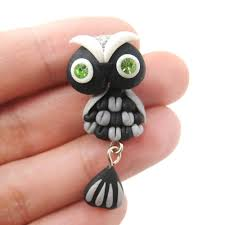 polymer clay stud earrings handmade owl bird two part polymer clay stud earring in black dotoly