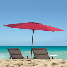 Beach Shade Umbrella Corliving 7 5 U0027 Uv And Wind Resistant Beach Patio Red Umbrella