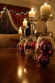 wine glass turned filled with ornaments