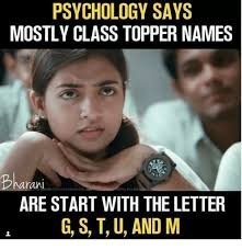Meme Psychology - psychology says mostly class topper names ah ding this con are start