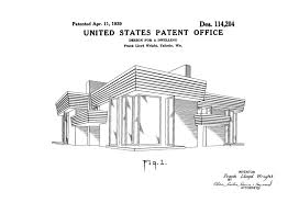 Frank Lloyd Wright Home Decor Frank Lloyd Wright House Design Patent Decor Patent Print Wall