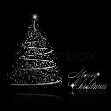 black christmas cards abstract silver christmas tree on black background stock photo