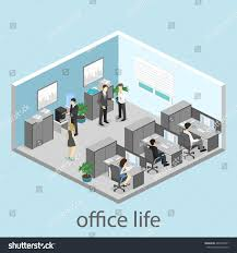flat 3d isometric abstract office floor stock vector 482238871