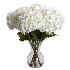 Artificial Flowers Home Decor by Nearly Natural 23 In H White Large Hydrangea With Vase Silk