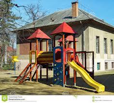 playground jungle gym and yard play equipment stock photo