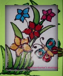 usha srikumar s musings a butterfly and flowers a stained