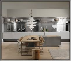 simplistic and calm kitchen design with steel cabinet and wooden