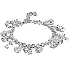 bracelet pendant images 925 sterling silver plated fashion women 13 charm jpg