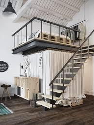 chic scandinavian studio apartment design arranged with loft bed