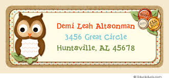 baby owl return address labels custom matching stickers