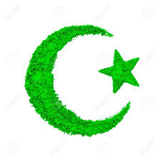 crescent moon and of islam made with green color powder