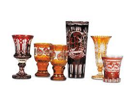bicchieri boemia cinque bicchieri e un vaso in cristallo boemia inizio xx secolo