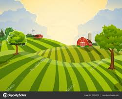 A Cartoon Barn Cartoon Farm Green Seeding Field U2014 Stock Vector Drogatnev