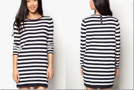 minimalist black and white sleeved striped dresses fashion