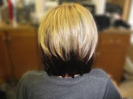 blonde bobbed hair with dark underneath blonde and black short hair hairstyle for women man