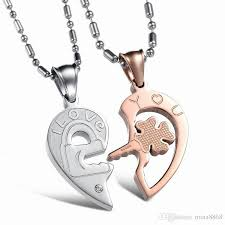 couples heart necklace images Wholesale fashion accessories jewelry gift titanium steel two half jpg