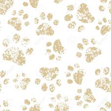 cat or dog brown paw prints on white seamless pattern royalty free