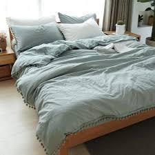 junwell 100 washed cotton duvet cover set 3 pieces set pom pom