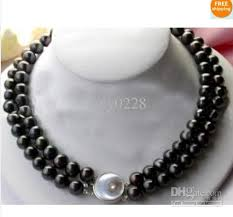 jewelry black pearl necklace images 2 row 8 9mm natural black pearl necklace online with 45 72 piece jpg