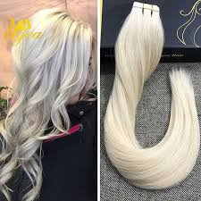 salt and pepper tape in hair extentions brazilian solid color platinum blonde tape in remy real human hair