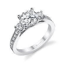 classic three stone round brilliant diamond engagement ring