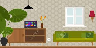 home interior vector living room home interior in flat vector illustration vintage