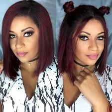 ombre 1bt burgundy lace front human hair wigs with baby hair short