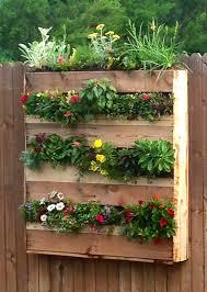 vertical pallet flower box garden added landscape fabric then