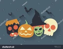 halloween monsters witch zombie skull pumpkin stock vector
