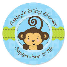 it s a boy baby shower blue monkey boy personalized baby shower sticker labels 24 ct