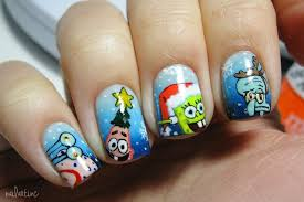 nailartinc spongebob christmas nailart