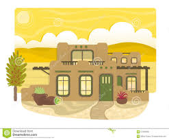 Desert Home Plans Pueblo Style House Stock Vector Image 57033035