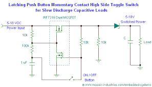 push button on off soft latch circuits battery powered touch