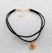black double choker necklace images Wholesale gold rose flower pendant double layer black choker jpg