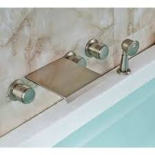 monora brushed nickel waterfall tub faucet three handles tiple handle bathtub filler with hand shower bathtub faucet with