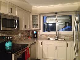 Kitchen Stone Backsplash by Antique White Kitchen With Brushed Bronze Pulls And Handles Dark